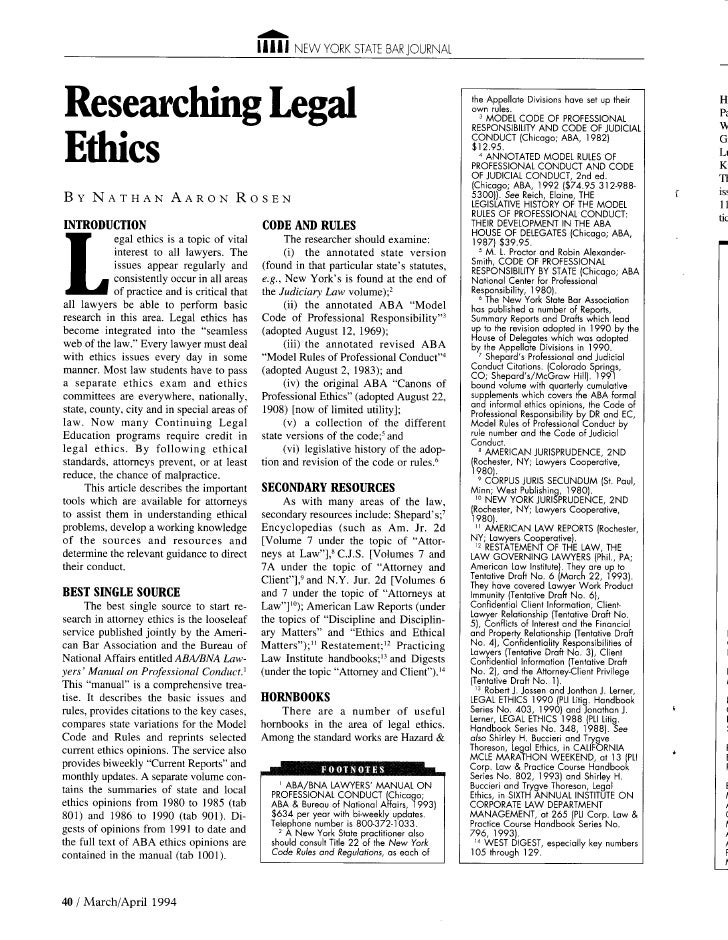 Researching Legal Ethics in New York State Bar Journal