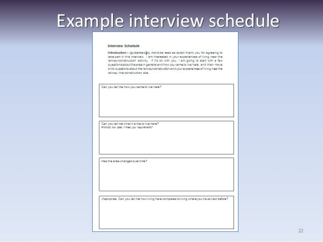 Researching people using questionnaires and interviews – Sample Interview Schedule Template