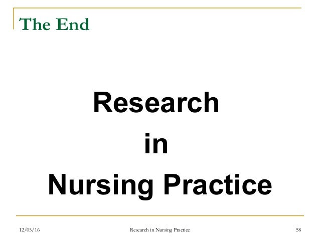 Research in nursing practice revision