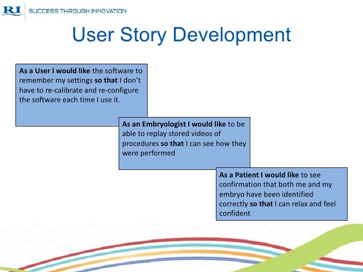 User Story DevelopmentAs a User I would like the software toremember my settings so that I don'thave to re-calibrate and r...