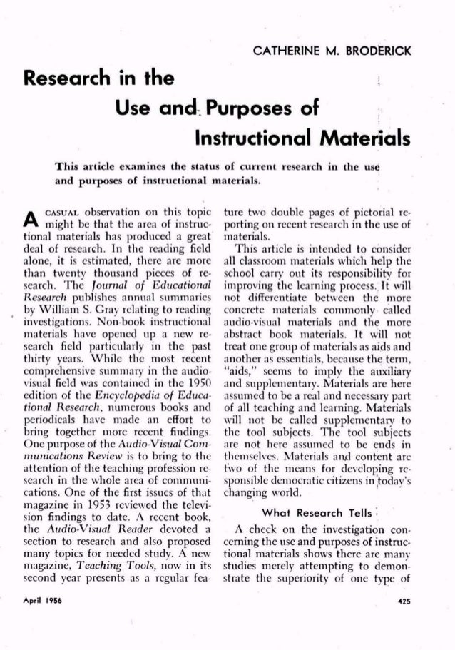 Research In The Use And Purposes Of Instructional Materials