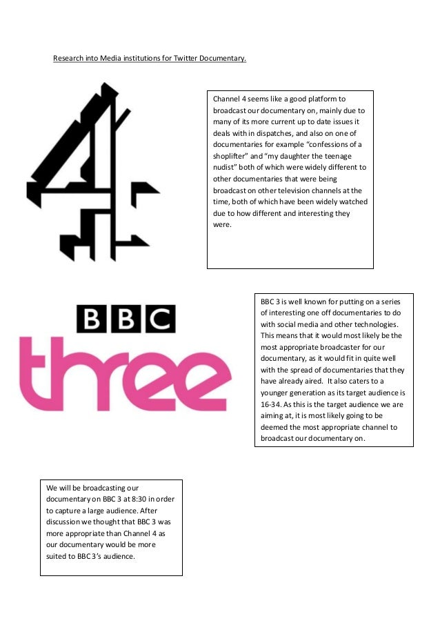 Research into Media institutions for Twitter Documentary.                                                 Channel 4 seems ...