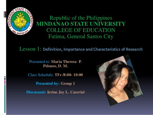 Presented to: Maria Theresa P. Pelones, D. M. Class Schedule: TFr /8:00- 10:00 Presented by: Group 1 Discussant: Ierine Jo...