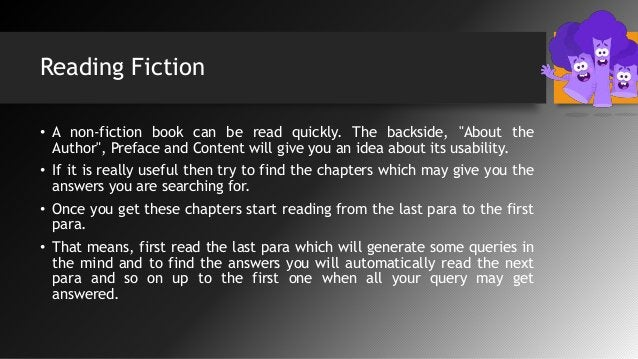 """Reading Fiction • A non-fiction book can be read quickly. The backside, """"About the Author"""", Preface and Content will give ..."""