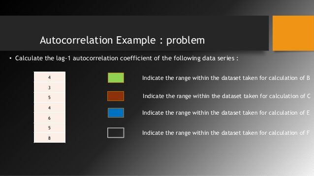 Autocorrelation Example : problem • Calculate the lag-1 autocorrelation coefficient of the following data series : 4 3 5 4...