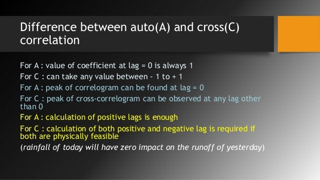 Difference between auto(A) and cross(C) correlation For A : value of coefficient at lag = 0 is always 1 For C : can take a...