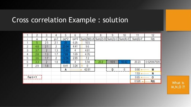 Cross correlation Example : solution What is M,N,O ??