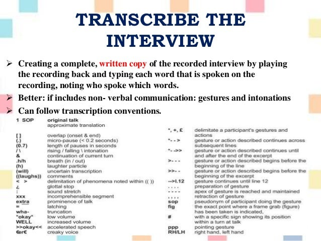 interview transcription thesis Important part of developing and refining interpretations in your interview, focus  group  we also provide a sample interview transcript with codes and marginal.