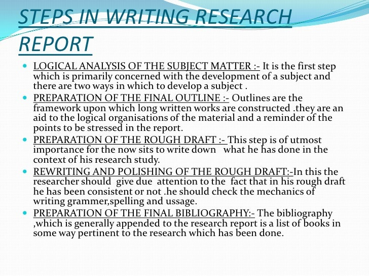 Writing research reports