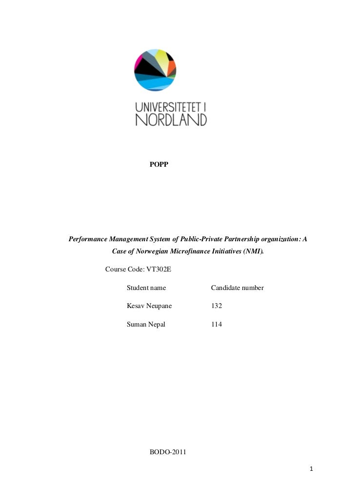POPPPerformance Management System of Public-Private Partnership organization: A             Case of Norwegian Microfinance...