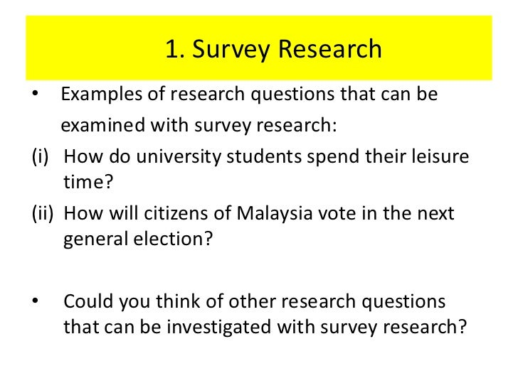 Survey Research and Questionnaires
