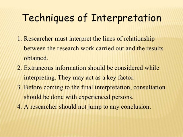 Need for Interpretation