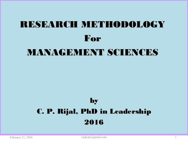 research methodology in management pdf