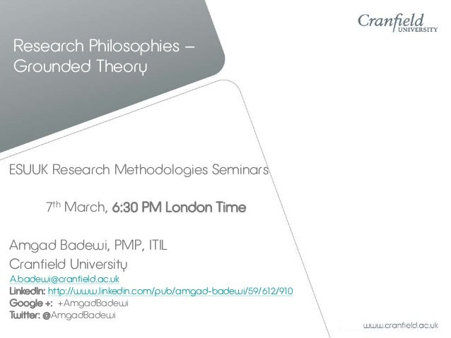 Research Philosophies – Grounded Theory  ESUUK Research Methodologies Seminars 7th March, 6:30 PM London Time Amgad Badewi...