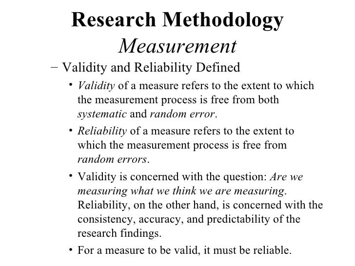 discuss the accuracy of the definition Introduction to validity and reliability  definition of validity this refers to the extent to which a measurement does what it supposed to do.