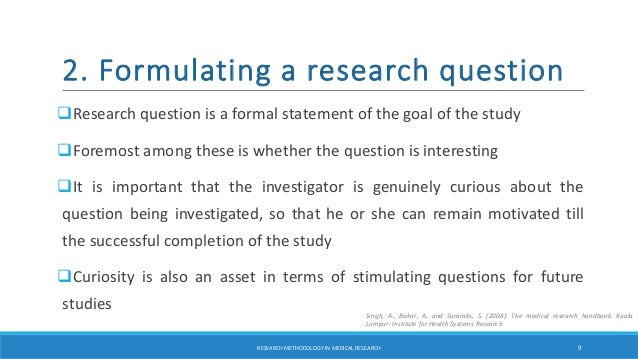 Research methodology in medical research