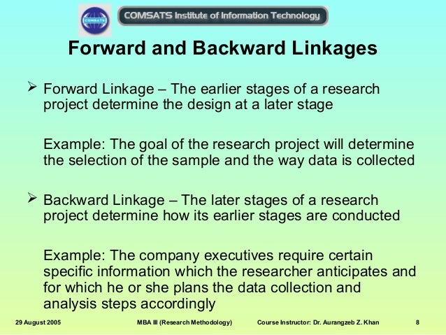 What are backward and forward linkages?