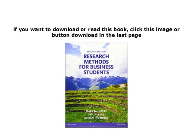 research methods for business students 7th edition free download