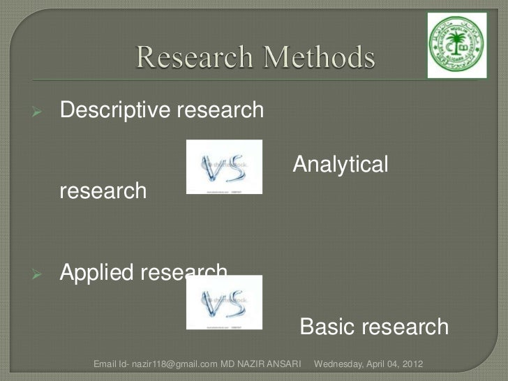    Descriptive research                                                 Analytical    research   Applied research       ...