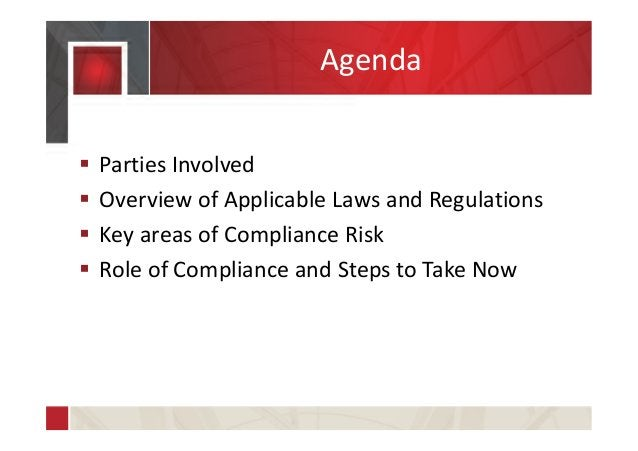Agenda  Parties Involved  Overview of Applicable Laws and Regulations  Key areas of Compliance Risk  Role of Complianc...