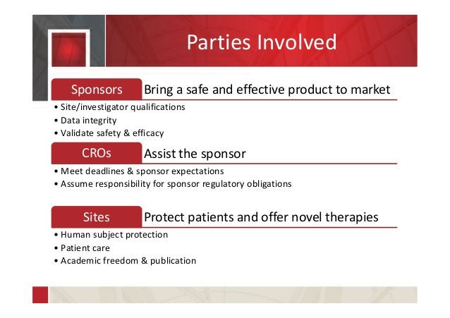 Parties Involved Bring a safe and effective product to marketSponsors • Site/investigator qualifications • Data integrity ...