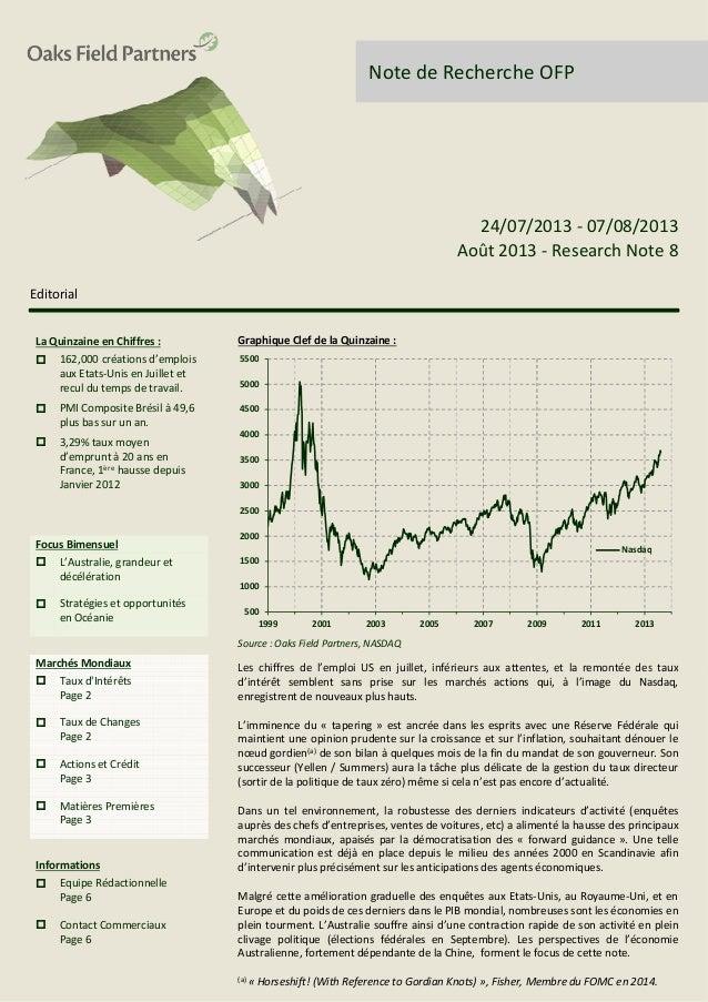 Note de Recherche OFP Editorial Graphique Clef de la Quinzaine : 24/07/2013 - 07/08/2013 Août 2013 - Research Note 8 Graph...