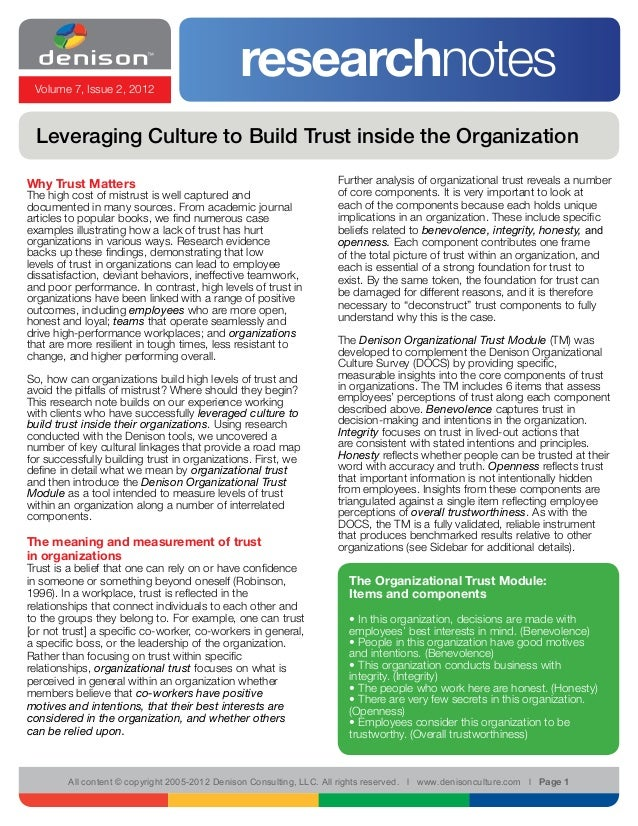 Volume 7, Issue 2, 2012                                               researchnotes Leveraging Culture to Build Trust insi...