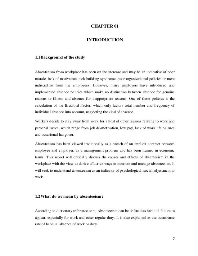 essay on absenteeism in the workplace