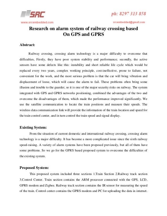Research on alarm system of railway crossing based On GPS and GPRS Abstract: Railway crossing, crossing alarm technology i...