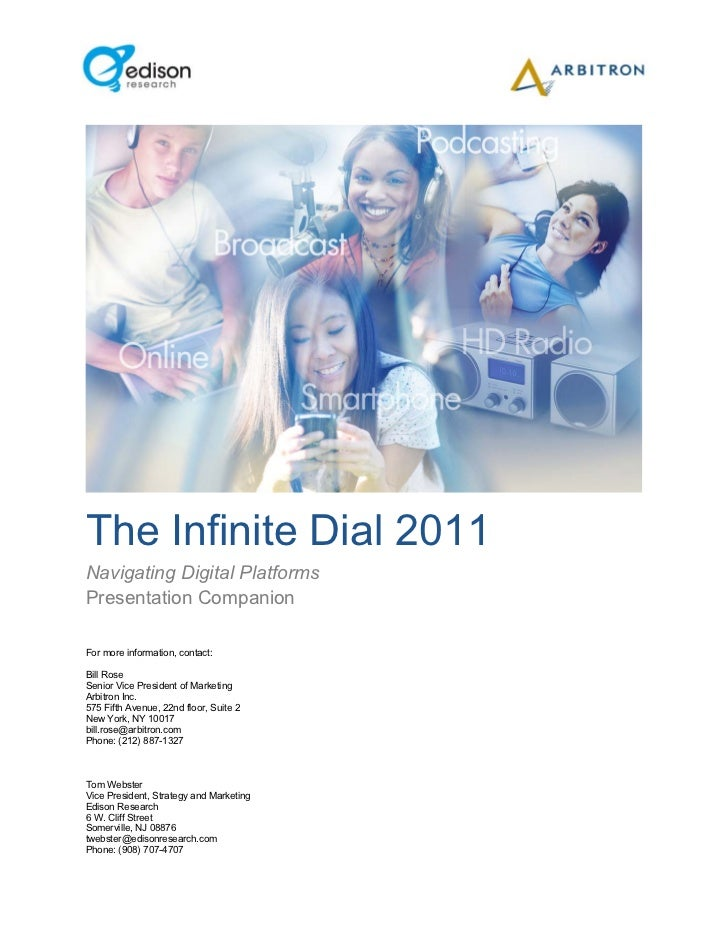 The Infinite Dial 2011Navigating Digital PlatformsPresentation CompanionFor more information, contact:Bill RoseSenior Vice...