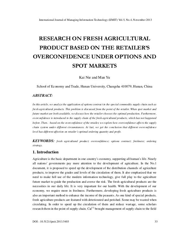 International Journal of Managing Information Technology (IJMIT) Vol.5, No.4, November 2013  RESEARCH ON FRESH AGRICULTURA...