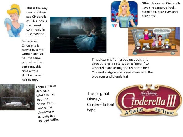 Other designs of Cinderella have the same outlook, blond hair, blue eyes and blue dress.  This is the way most children se...