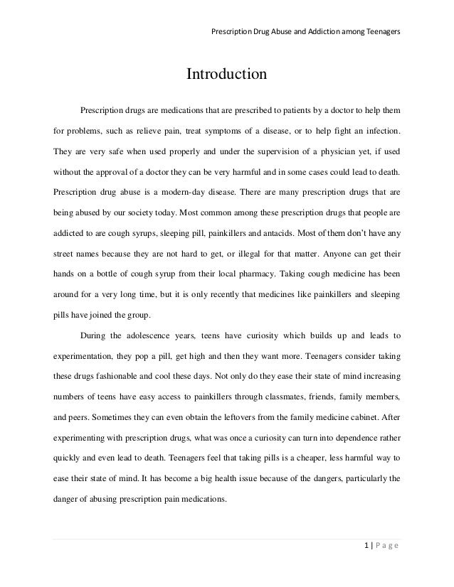 research paper on prescription drug abuse View this research paper on drug abuse in nursing nurses and other medical professionals are tasked with taking care of their patients of healing the body and.