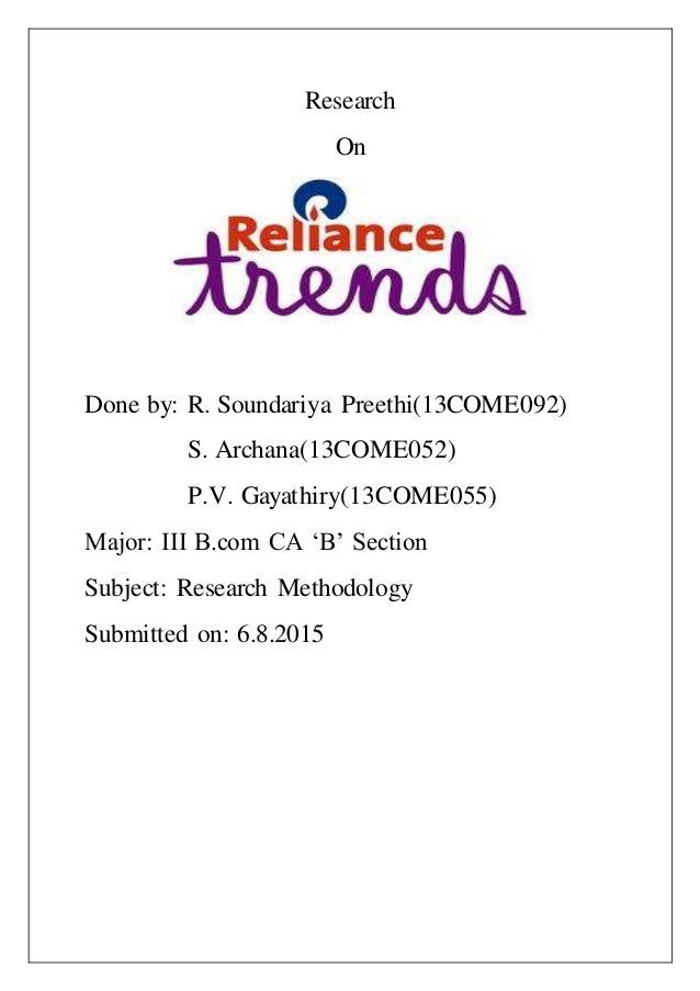 Research On Done by: R. Soundariya Preethi(13COME092) S. Archana(13COME052) P.V. Gayathiry(13COME055) Major: III B.com CA ...