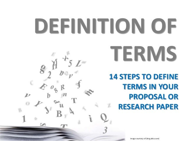A Good Example Of Definition Of Terms In A Research Paper