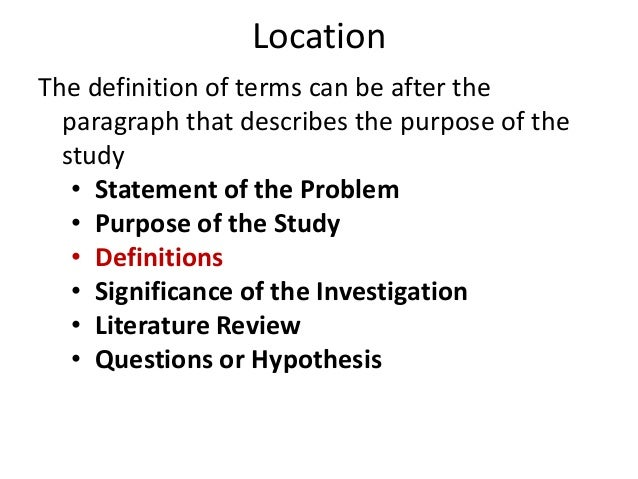 definition of terms in research paper