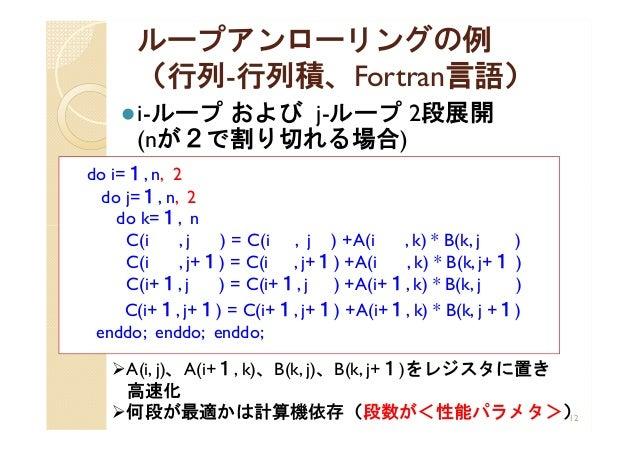 ループアンローリングの例 (行列-行列積、Fortran言語) i-ループ および j-ループ 2段展開 (nが2で割り切れる場合) 12 do i=1, n, 2 do j=1, n, 2 do k=1, n C(i , j ) = C(i...
