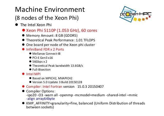 MachineEnvironment (8nodesoftheXeonPhi)  TheIntelXeonPhi  XeonPhi5110P(1.053GHz),60cores  MemoryAmoun...