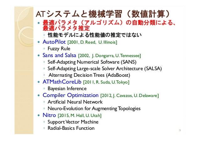 ATシステムと機械学習(数値計算)  最適パラメタ(アルゴリズム)の自動分類による、 最適パラメタ推定 ◦ 性能モデルによる性能値の推定ではない  AutoPilot [2001, D. Reed, U. Illinois] ◦ Fuzzy...