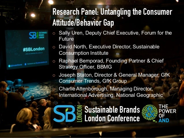 Research Panel: Untangling the ConsumerAttitude/Behavior Gap¡    Sally Uren, Deputy Chief Executive, Forum for the      F...