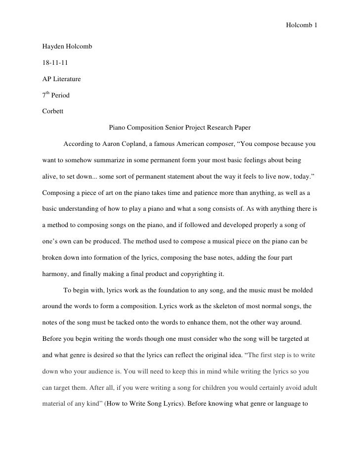 Holcomb 1Hayden Holcomb18-11-11AP Literature7th PeriodCorbett                         Piano Composition Senior Project Res...