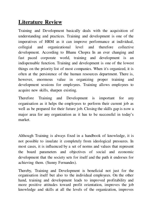 term paper on training and development Training and development strategy purpose of assignment the purpose of this assignment is to give learners experience creating a training and develo.