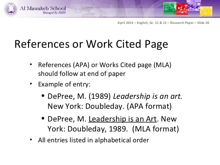 work cited in alphabetical order