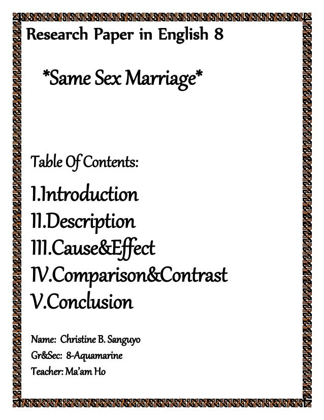 Same sex marriage research paper as the college thesis