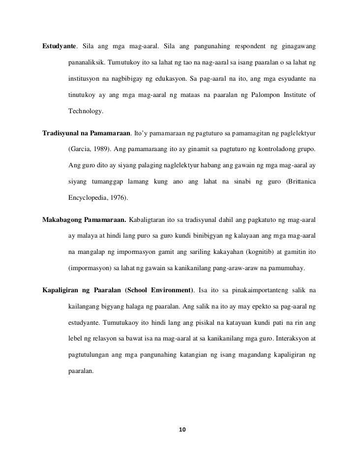mga halimbawa ng thesis sa asignaturang filipino