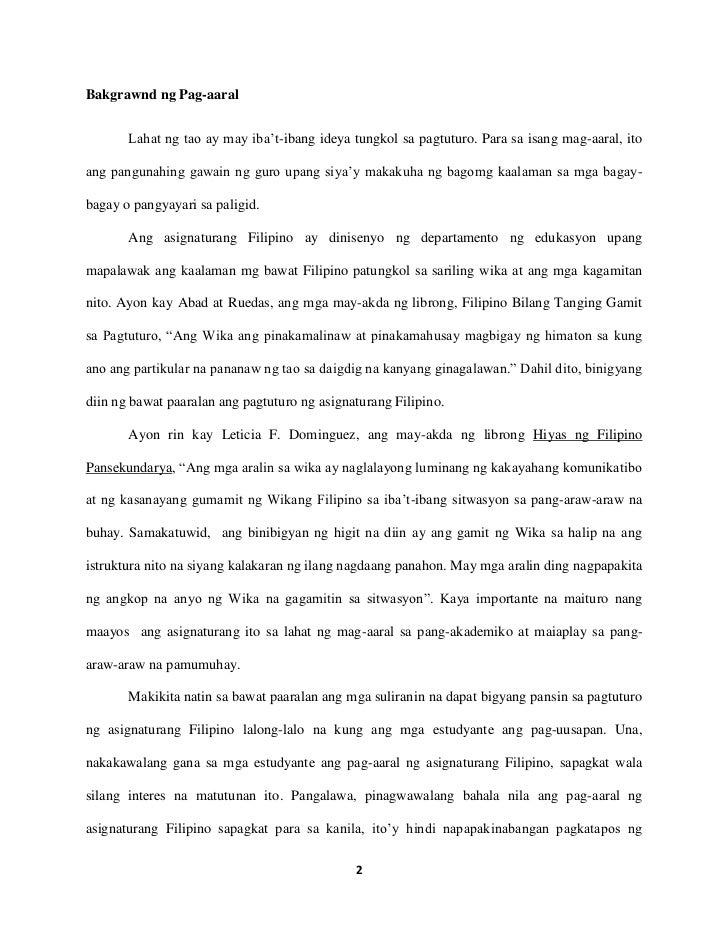 Thesis In Filipino