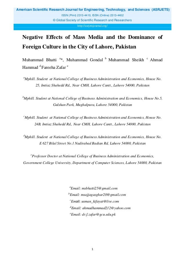 the impacts of media on pakistans economy media essay Nber working paper series economic and social impacts of the media stefano dellavigna eliana la ferrara working paper 21360.