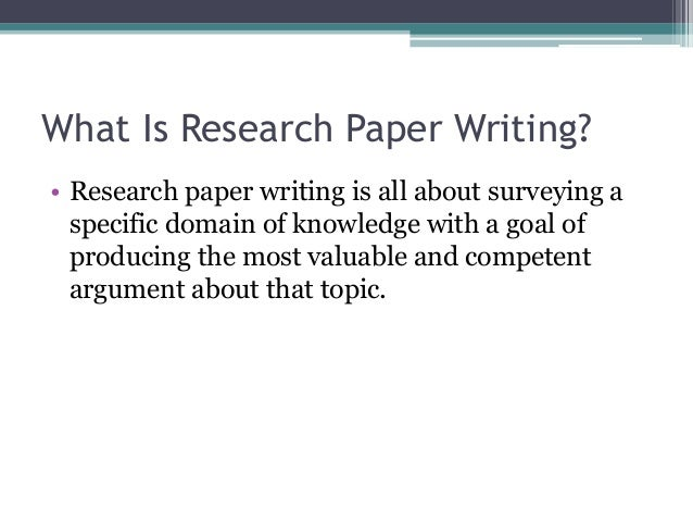 what is research paper writing