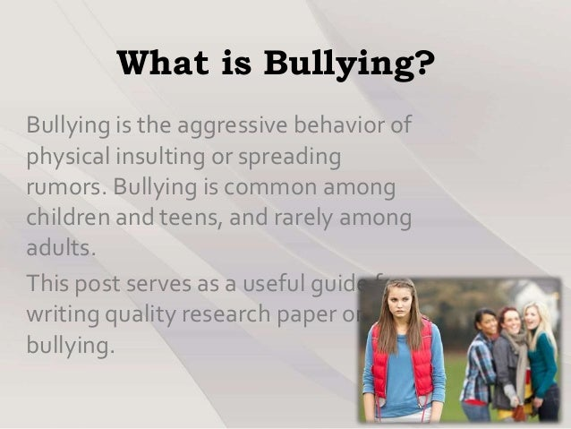 Bullying in School Proposal Essay Sample
