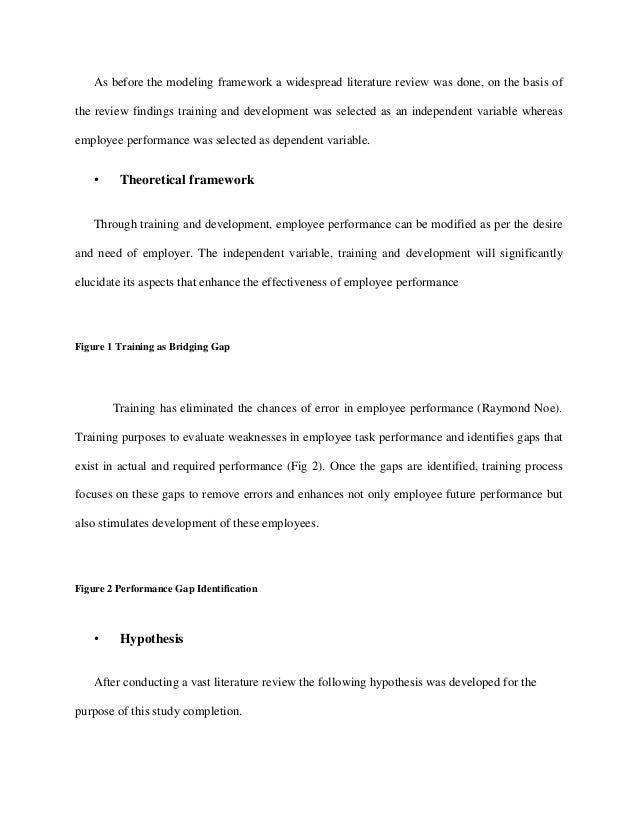 literature review impact training development employee performance